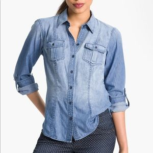 Sandra Ingrish Roll Sleeve Denim Button Up Shirt